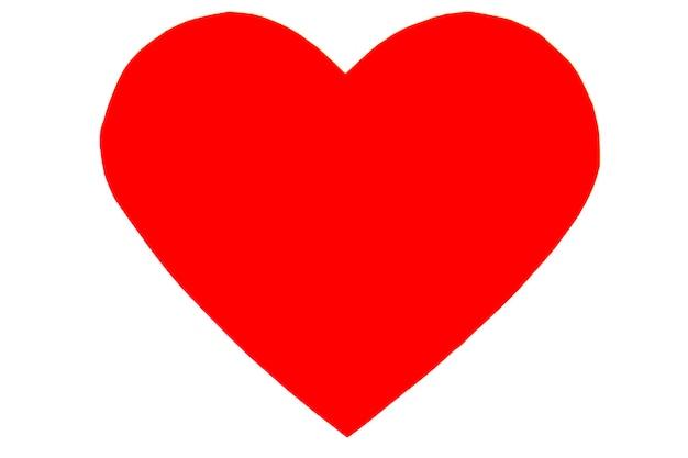 Coração vermelho em estilo moderno simples, isolado no fundo branco