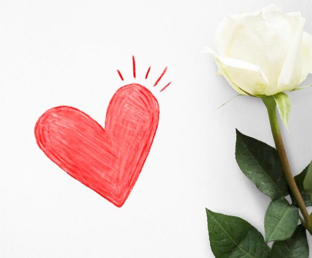 Coração vermelho em um cartão de dia dos namorados