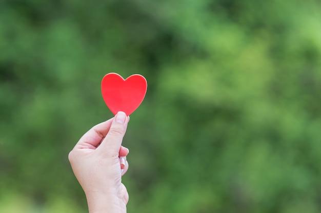 Coração vermelho na mão da mulher