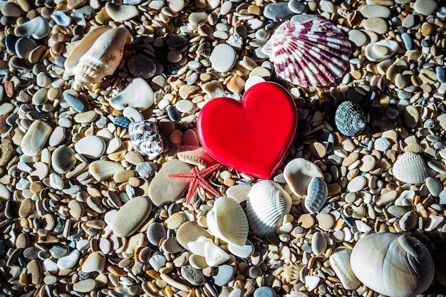 Coração vermelho na praia os seixos, conchas do mar e estrelas do mar.