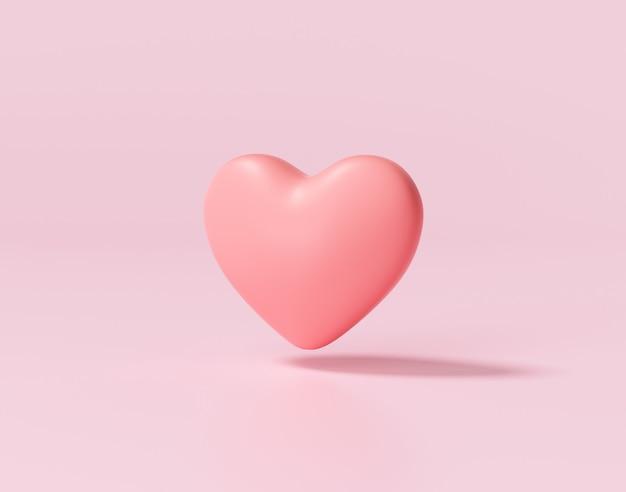 Coração vermelho na superfície rosa