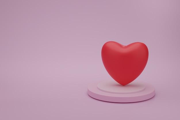Coração vermelho no pódio de apresentação com fundo de cor rosa. ide para a mãe, dia dos namorados, aniversário, renderização em 3d.