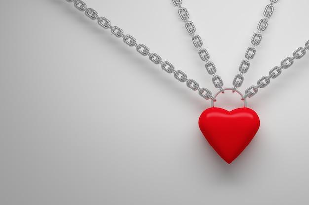 Coração vermelho pendurado em correntes de prata metálicas imagem com cópia espaço em branco ilustração 3d