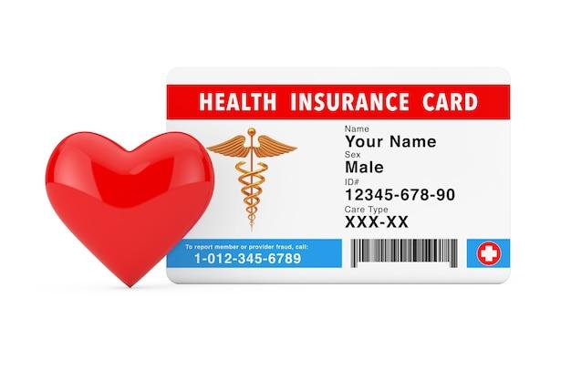 Coração vermelho perto do conceito de cartão médico de seguro de saúde em um fundo branco. renderização 3d