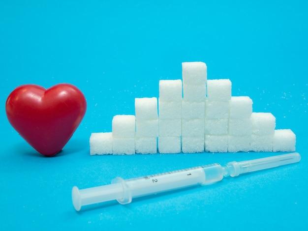 Coração vermelho, pilha de cubos de açúcar refinado branco e seringa com insulina em fundo azul