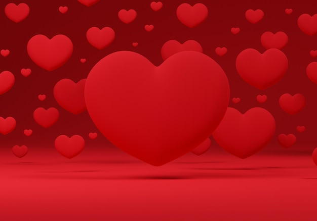Corações 3d flutuando sobre um fundo vermelho.