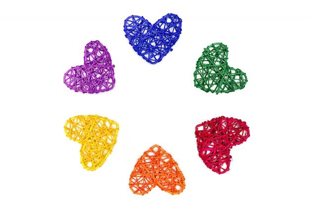 Corações cor de arco-íris