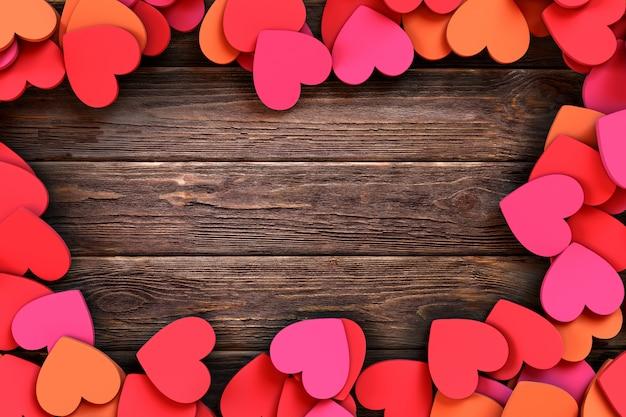 Corações de amor em fundo de madeira vintage. ilustração de renderização 3d