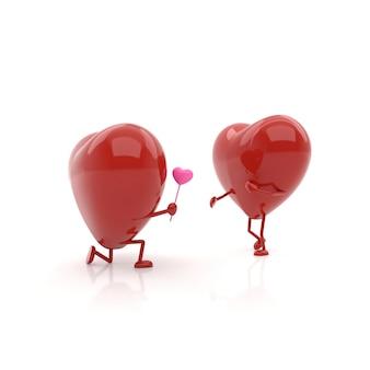 Corações de casal com conceitos de amor. renderização em 3d.