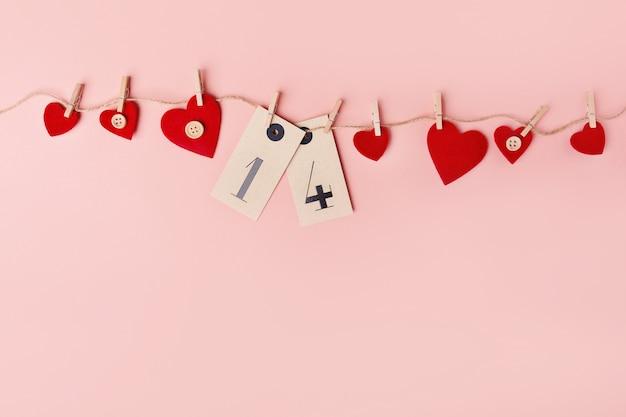 Corações de dia dos namorados suave em rosa