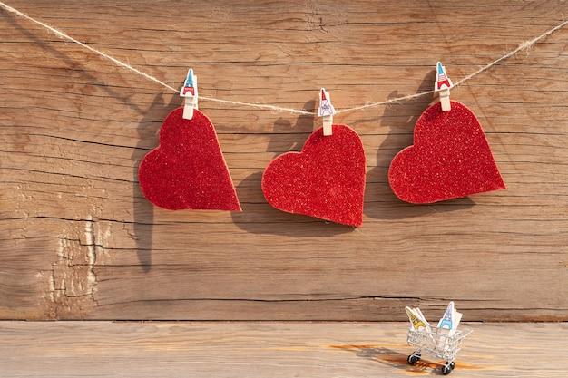 Corações de glitter