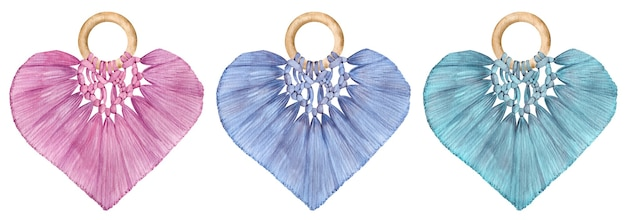 Corações de macramé aquarela - rosa, azul, verde