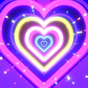 Corações de néon com estrelas e efeitos de feixes de luz coloridos