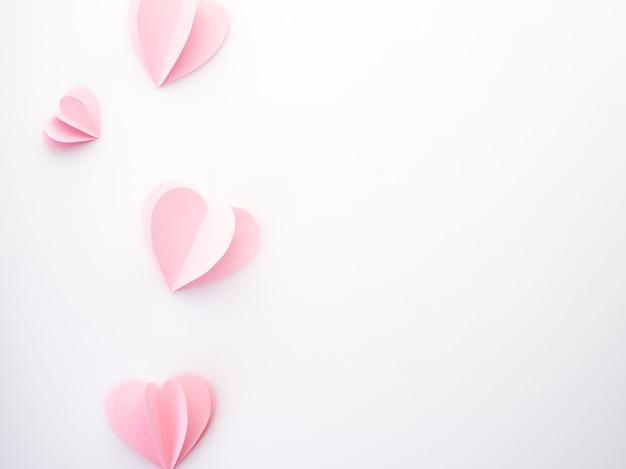 Corações de papel rosa amor criativo