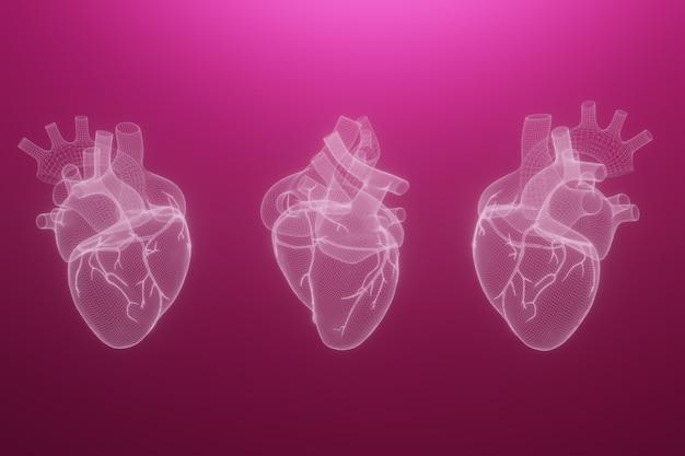Corações de wireframe 3d render isolado
