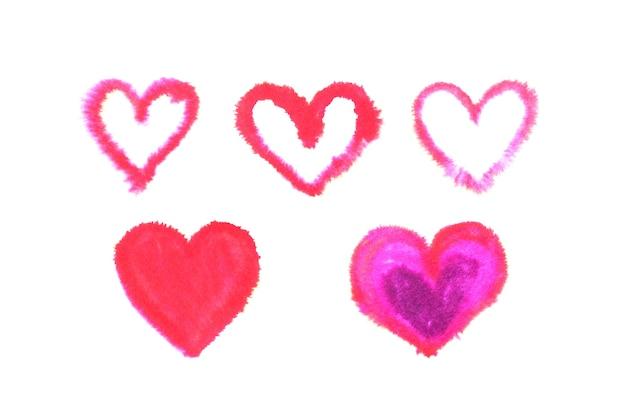 Corações desenhados em aquarela. ilustração aquarelle.