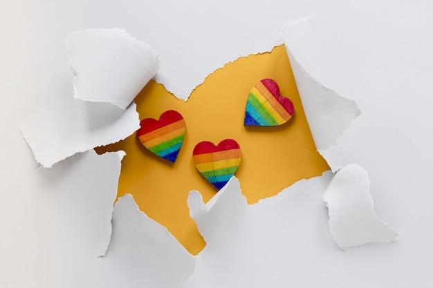Corações do arco-íris vista superior