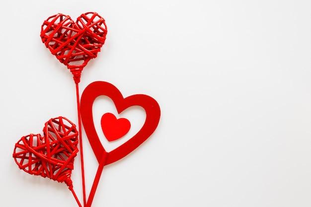 Corações do dia dos namorados com espaço de cópia