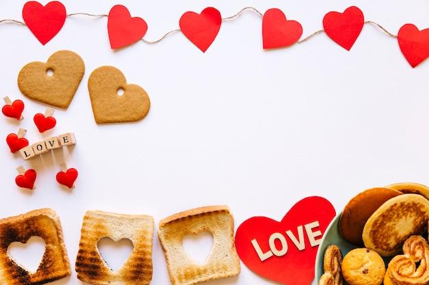 Corações e comida do dia dos namorados