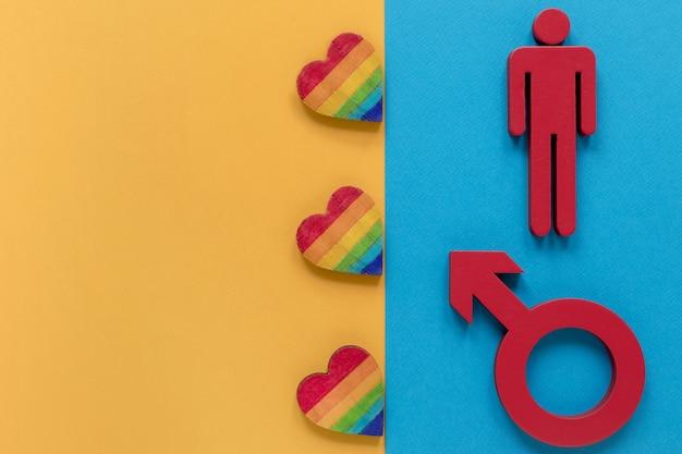 Corações e símbolo de gênero