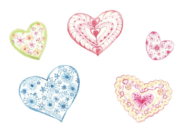 Corações em aquarela sobre fundo branco. conjunto de 5 corações