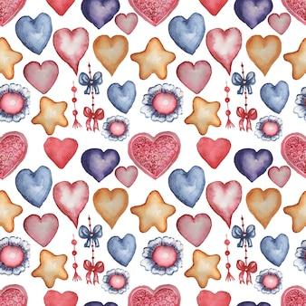 Corações, estrelas, flores, ilustração desenhada à mão em aquarela de caracol. padrão uniforme. impressão, têxteis. vintage, retro. cor vermelha, azul laranja.