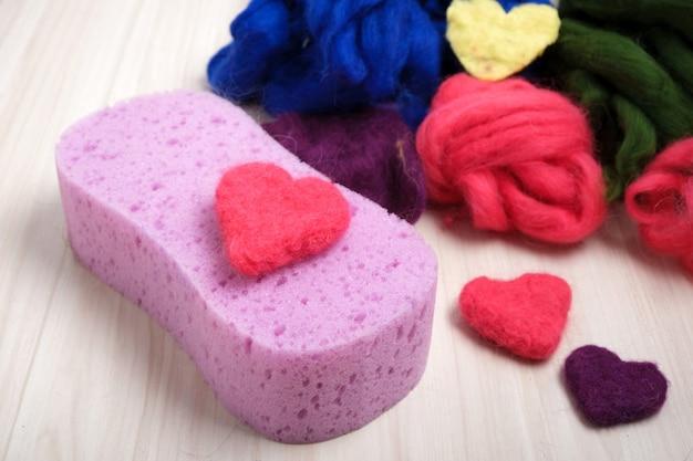 Corações feitos de lã