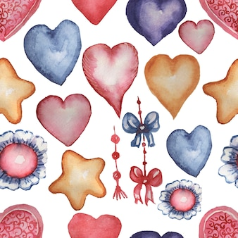 Corações, laços e estrelas em estilo aquarela