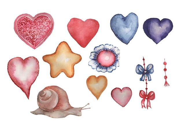 Corações, laços e um caracol em estilo aquarela