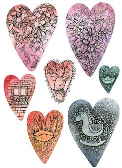 Corações multicoloridos (azuis, rosa, laranja, vermelhos) de aquarelas de tamanhos diferentes. ilustrações bonitos de um cervo, raposa, flores e folhas, um cavalo de brinquedo, uma janela e um barquinho de papel são desenhados neles.