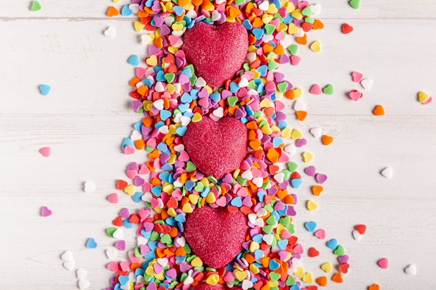 Corações no coração doce plana leigos