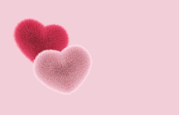 Corações peludos e peludos voam com espaço de cópia no conceito de amor