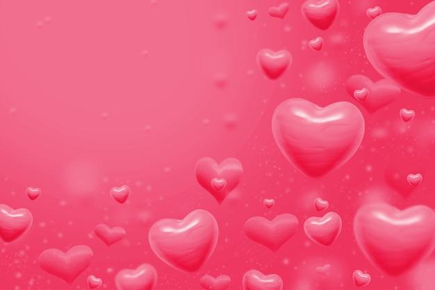 Corações rosa abstraem base para dia dos namorados. copie o espaço para o texto. ilustração 3d