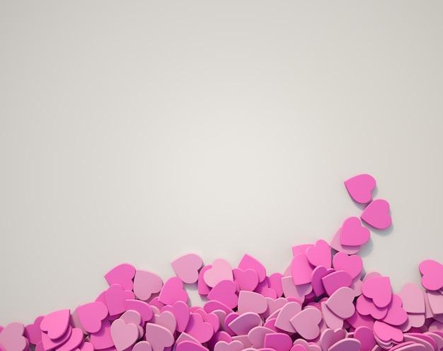Corações rosa espalhados em uma superfície branca