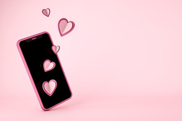 Corações saindo de um celular para bater um papo com uma mensagem de amor