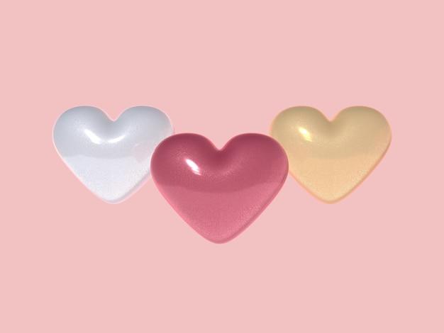 Corações tridimensionais