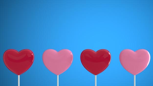 Corações vermelhos e rosa em uma vara na parede azul