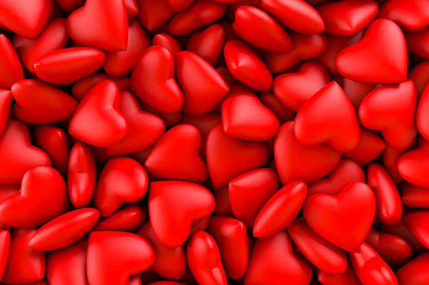 Corações vermelhos. textura de fundo dos corações. dia dos namorados. ilustração de renderização 3d
