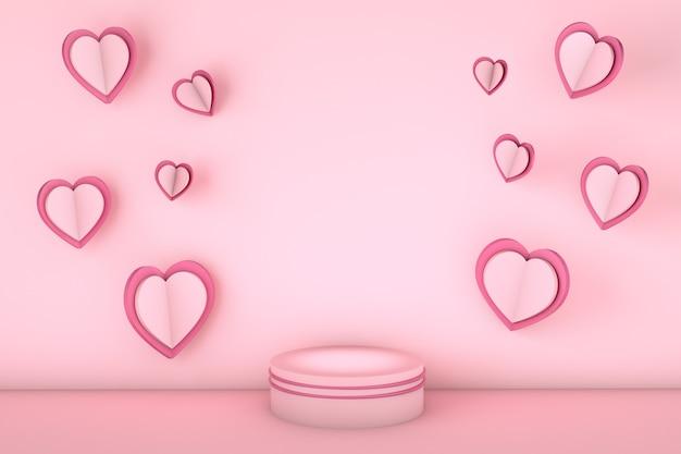 Corações voando ao redor de um pódio com espaço de cópia para uma mensagem de amor