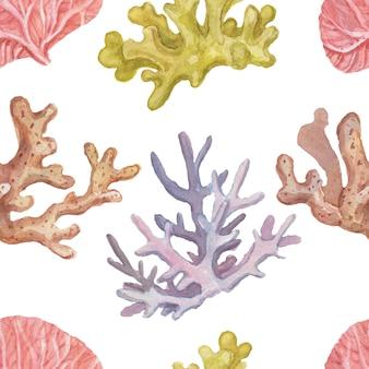Corais conchas mar viagens verão praia aquarela padrão sem emenda ilustração mão desenhada impressão
