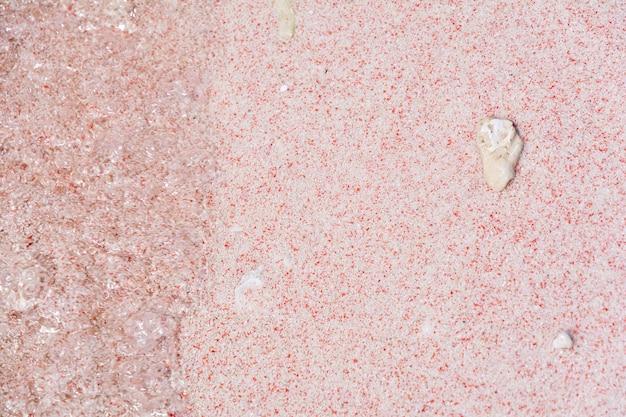 Coral na areia rosa na praia rosa no parque nacional de komodo Foto Premium