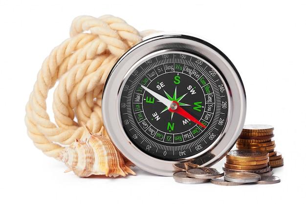 Corda náutica com bússola para navegação
