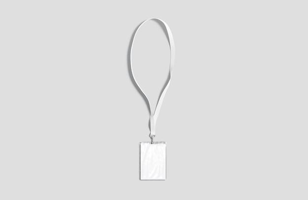 Cordão branco em branco com maquete de cartão de visita