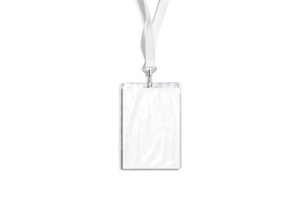 Cordão branco em branco com maquete de crachá laminado com nome cartão pessoal de plástico vazio para simulação de passe