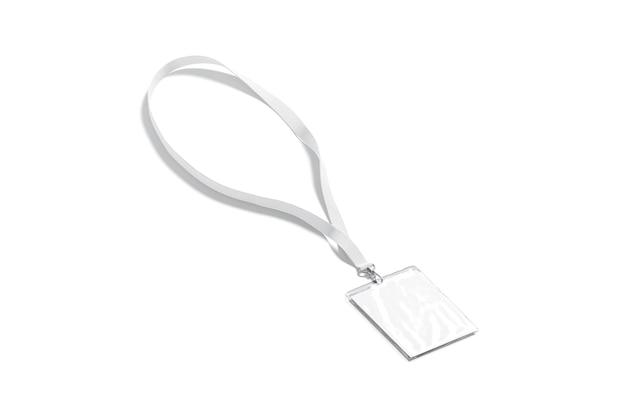 Cordão branco em branco com simulação de cartão de nome em renda vazia com crachá laminado para maquete de evento