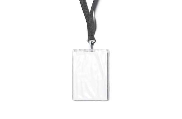 Cordão preto em branco com crachá laminado com nome simulado cartão de visita vazio isolado em modelo de corda