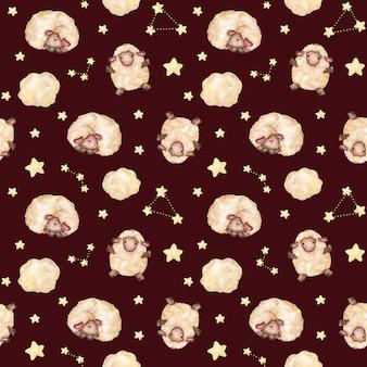 Cordeiros em aquarela, estrelas sem costura padrão