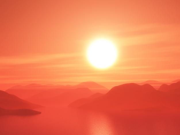 Cordilheira 3d contra um céu pôr do sol