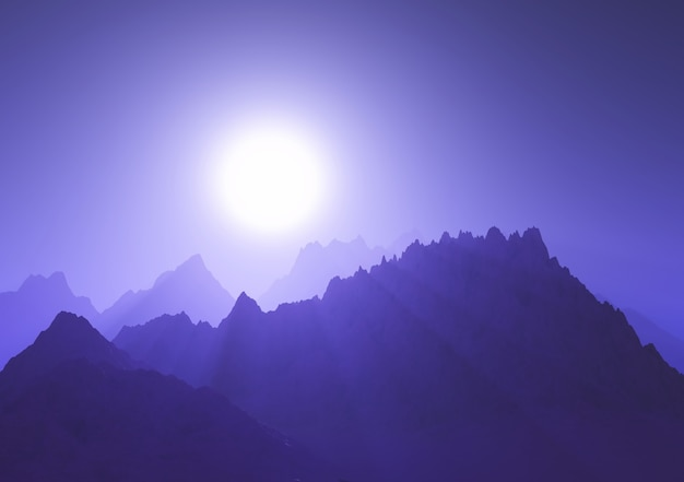 Cordilheira 3d contra um céu roxo do sol