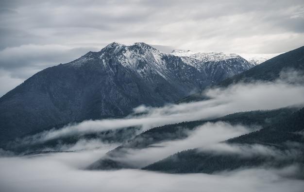 Cordilheira acima das nuvens montanhas verdes em neblina densa paisagem escura sombria vista de pássaro